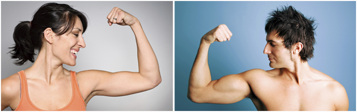 Woman and man showing their sexy great biceps